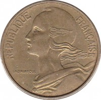obverse of 50 Centimes (1962 - 1964) coin with KM# 939 from France. Inscription: REPUBLIQUE FRANÇAISE LAGRIFFOUL