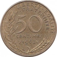 reverse of 50 Centimes (1962 - 1964) coin with KM# 939 from France. Inscription: LIBERTE · EGALITE · FRATERNITE · 50 CENTIMES 1964