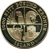 obverse of 1000 Kronur - 1000 years to Leif Ericsson (2000) coin with KM# 37 from Iceland. Inscription: 1000 EITT ÞÚSUND KRÓNUR ÍSLAND