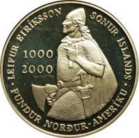 reverse of 1000 Kronur - 1000 years to Leif Ericsson (2000) coin with KM# 37 from Iceland. Inscription: LEIFUR EIRÍKSSON SONUR ÍSLANDS 1000 2000 FUNDUR NORÐUR-AMERÍKUÚ