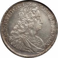 obverse of 1 Taler - Karl VI - Vienna mint (1735 - 1740) coin with KM# 1579.3 from Austria. Inscription: CAROL:VI:D:G:R:I: S:A:GE:HI:HU:BO:REX: