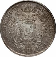 reverse of 1 Taler - Karl VI - Vienna mint (1735 - 1740) coin with KM# 1579.3 from Austria. Inscription: ARCHID:AUST:DUX · BU:COM:TYROL:1739