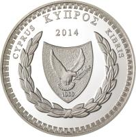 obverse of 5 Euro - The Poet Costas Montis (2014) coin with KM# 101 from Cyprus. Inscription: ΚΥΠΡΟΣ CYPRUS KIBRIS 2014