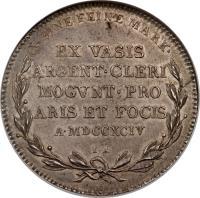reverse of 1 Taler - Friedrich Karl Joseph (1794) coin with KM# 398 from German States. Inscription: X EINE FEINE MARK · EX VASIS ARGENT · CLERI MOGVNT · PRO ARIS ET FOCIS A · MDCCXCIV I · A ·