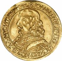 obverse of 1 Ducat - Johann Philipp - Trade coinage (1652 - 1661) coin with KM# 106 from German States. Inscription: IOANN:PHILIP:D.G.ARCHIEP.MOG.S.R.I.ARCHIC.PRINC.EL