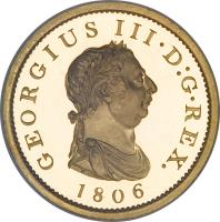 obverse of 1 Penny - George III (1806) coin with KM# 663b from United Kingdom. Inscription: GEORGIUS III · D:G · REX. 1806