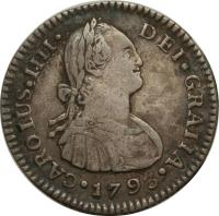 obverse of 1 Real - Carlos IV (1790 - 1808) coin with KM# 54 from Guatemala. Inscription: CAROLUS · IIII · DEI · GRATIA · 1795 ·