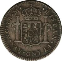 reverse of 1 Real - Carlos IV (1790 - 1808) coin with KM# 54 from Guatemala. Inscription: HISPAN ET IND REX NG 1R M