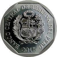 obverse of 1 Nuevo Sol - Wealth and Pride of Peru: Petroglifos de Pusharo (2015) coin with KM# 342 from Peru. Inscription: BANCO CENTRAL DE RESERVA DEL PERÚ 2015