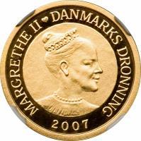 obverse of 1000 Kroner - Margrethe II - International Polar Year (2007) coin with KM# 918 from Denmark. Inscription: MARGRETHE II DANMARKS DRONNING 2007