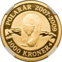 reverse of 1000 Kroner - Margrethe II - International Polar Year (2007) coin with KM# 918 from Denmark. Inscription: POLARÅR 2007-2009 100 KRONER