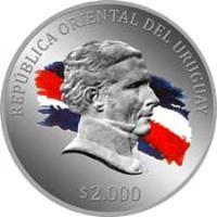 obverse of 2000 Pesos Uruguayos - General Land Regulation of 1815 (2015) coin with KM# 142 from Uruguay. Inscription: REPÚBLICA ORIENTAL DEL URUGUAY $ 2.000