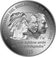 reverse of 2000 Pesos Uruguayos - General Land Regulation of 1815 (2015) coin with KM# 142 from Uruguay. Inscription: BICENTENARIO DEL REGLAMENTO DE TIERRAS DE 1815