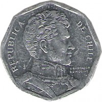 obverse of 1 Peso (1992 - 2013) coin with KM# 231 from Chile. Inscription: REPUBLICA DE CHILE So LIBERTADOR B. O'HIGGINS R.THENOT