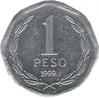 reverse of 1 Peso (1992 - 2013) coin with KM# 231 from Chile. Inscription: 1 PESO 2006