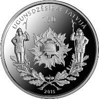 obverse of 5 Euro - 150 years of firefighting in Latvia (2015) coin with KM# 167 from Latvia. Inscription: UGUNSDZĒSĪBAI LATVIJĀ 150 2015