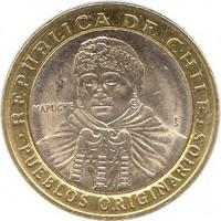 obverse of 100 Pesos (2001 - 2015) coin with KM# 236 from Chile. Inscription: REPUBLICA DE CHILE MAPUCHE So · PUEBLOS ORIGINARIOS ·