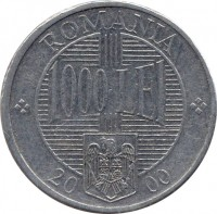 reverse of 1000 Lei - Constantin Brancoveanu (2000 - 2006) coin with KM# 153 from Romania. Inscription: ROMANIA 1000 LEI 20 02