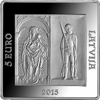 obverse of 5 Euro - 500 Years of the Riga Castle (2015) coin with KM# 169 from Latvia. Inscription: 5 EURO LATVIJA 2015