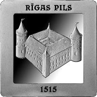 reverse of 5 Euro - 500 Years of the Riga Castle (2015) coin with KM# 169 from Latvia. Inscription: RĪGAS PILS 1515