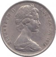 obverse of 5 Cents - Elizabeth II (1966 - 1984) coin with KM# 64 from Australia. Inscription: ELIZABETH II AUSTRALIA 1975