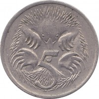 reverse of 5 Cents - Elizabeth II (1966 - 1984) coin with KM# 64 from Australia. Inscription: 5 SD