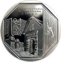 reverse of 1 Nuevo Sol - Wealth and Pride of Peru: Arquitectura Moqueguana (2015) coin with KM# 389 from Peru. Inscription: Arquitectura Moqueguana S. XVII d.c. 1 Nuevo Sol