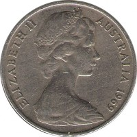 obverse of 20 Cents - Elizabeth II (1966 - 1984) coin with KM# 66 from Australia. Inscription: ELIZABETH II AUSTRALIA 1969