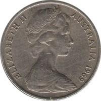 obverse of 20 Cents - Elizabeth II (1966 - 1984) coin with KM# 66 from Australia. Inscription: ELIZABETH II AUSTRALIA 1969