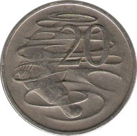reverse of 20 Cents - Elizabeth II (1966 - 1984) coin with KM# 66 from Australia. Inscription: 20 SD