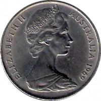 obverse of 10 Cents - Elizabeth II (1966 - 1984) coin with KM# 65 from Australia. Inscription: ELIZABETH II AUSTRALIA 1969