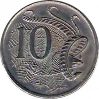 reverse of 10 Cents - Elizabeth II (1966 - 1984) coin with KM# 65 from Australia. Inscription: 10 SD