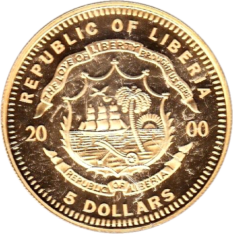 Obverse Of 5 Dollars European Currency Unit 2000 Coin From Liberia Inscription