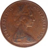 obverse of 1 Cent - Elizabeth II (1966 - 1984) coin with KM# 62 from Australia. Inscription: ELIZABETH II AUSTRALIA 1970