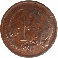 reverse of 1 Cent - Elizabeth II (1966 - 1984) coin with KM# 62 from Australia. Inscription: 1 SD