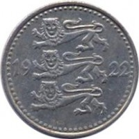 obverse of 1 Mark (1922) coin with KM# 1 from Estonia. Inscription: 19 22