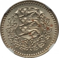 obverse of 1 Mark (1926) coin with KM# 5 from Estonia.