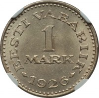 reverse of 1 Mark (1926) coin with KM# 5 from Estonia. Inscription: EESTI VABARIIK 1 MARK 1926