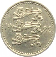 obverse of 3 Marka (1922) coin with KM# 2 from Estonia. Inscription: 19 22