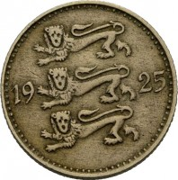 obverse of 3 Marka (1925) coin with KM# 2a from Estonia. Inscription: 19 25