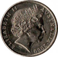 obverse of 10 Cents - Elizabeth II (1999 - 2015) coin with KM# 402 from Australia. Inscription: ELIZABETH II AUSTRALIA 2000 IRB