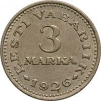 reverse of 3 Marka (1926) coin with KM# 6 from Estonia. Inscription: EESTI VABARIIK 3 MARKA 1926