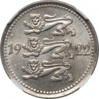 obverse of 5 Marka (1922) coin with KM# 3 from Estonia. Inscription: 19 22