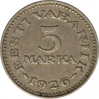 reverse of 5 Marka (1926) coin with KM# 7 from Estonia. Inscription: EESTI VABARIIK 5 MARKA 1926
