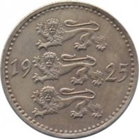obverse of 10 Marka (1925) coin with KM# 4 from Estonia. Inscription: 19 25
