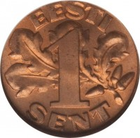reverse of 1 Sent (1929) coin with KM# 10 from Estonia. Inscription: EESTI 1 SENT