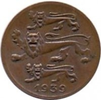 obverse of 1 Sent (1939) coin with KM# 19.1 from Estonia. Inscription: 1939