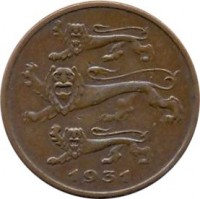 obverse of 5 Senti (1931) coin with KM# 11 from Estonia. Inscription: 1931