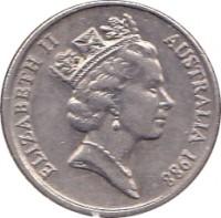obverse of 5 Cents - Elizabeth II (1985 - 1998) coin with KM# 80 from Australia. Inscription: ELIZABETH II AUSTRALIA 1988 RDM
