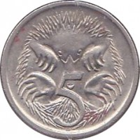 reverse of 5 Cents - Elizabeth II (1985 - 1998) coin with KM# 80 from Australia. Inscription: 5 SD